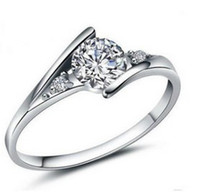 Wholesale New Women Sterling Silver AAA Crystal Wedding Rings White Gold Plated CZ Diamond Rings JZ
