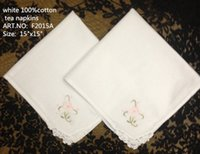Wholesale HomeTextiles European Style White100 cottonTable napkin with embroidered lot15x15 quot Beautiful tea napkins perfect for a bridal tea party
