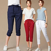 Wholesale Plus Size Harem Pants Women Korean Casual Loose Elastic Waist Linen Calf Length Pants M XL