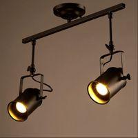 Wholesale Retro Loft Vintage LED Track Light Industrial Ceiling Lamp Bar Clothing Personality spotlight Light Double Heads