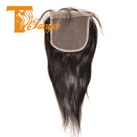 Wholesale 7A Brazilian Straight Hair Lace Top Closure x5 Virgin Brazilian Lace Closure Free Middle Way Part Bleached Knots With Baby Hair Piece