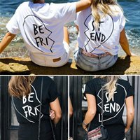 best round neck - New Arrivals Girl s Lady s Women s T Shirt Round Neck Short Sleeve Top of Pair Printed quot Best Friend quot Cotton Blends ED346 Free Shi