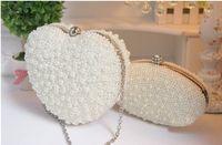 Wholesale 2016 new large pearl heart shaped bag handbag clutch evening bag banquet package noble lady dress bag
