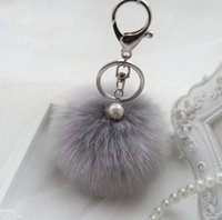 ball and chain keyring - 14 Colors Fur Ball Keychain With Pearl and cm Charm Pom Pom Pompom Silver Plated Keyring Key Chain for Bag or Hangbag