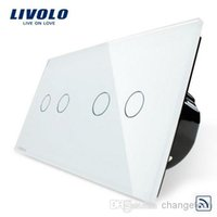 Wholesale Livolo Easy Life Gang Remote touch screen Luxury Tempered Glass Panel home wall light switch VL C702R VL C702R