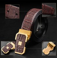 asia alloys - Card Asia head of thick leather belt Leather men belt Leisure male pure copper smooth buckle belt