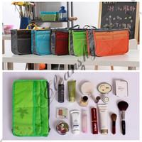 Wholesale Portable Double Zipper Makeup Bag Insert liner purse Organizer Handbag Women Travel Purse Pouch Bag in Bag Organizer Cosmetic Storage L192 Z