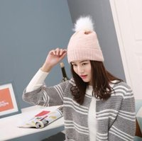 Wholesale New recommend new women fashion winter cute denim fox fur warm knitting hats designer solid cc beanies for women Christmas gift caps