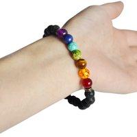balance bracelet black - Womens Mens Bracelets Lava Chakra Healing Balance Beads Bracelet Rhinestone Reiki Prayer Stones