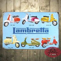 Wholesale Vintage Metal Tin Advertising Sign Lambretta Italian Scooters C