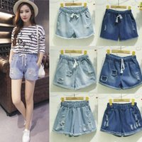 high waist jeans plus size - Summer Women Denim Jeans Shorts Plus Size Elastic Waist Ripped Holes Flange Casual Crimping Hot Trousers Light Blue