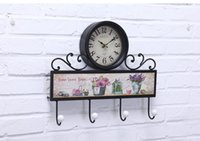 antique iron decor clock - 2016 Hot Sale New Arrival Iron Hanging Antique Imitation Wall Clock with Hook European Style Original Design Clock Home and House Decor
