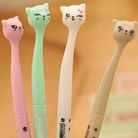 Wholesale 20pcs Gel Pens Creative Stationery Student Prize Supplies Pen Cartoon Cat Black Ink Fashion Cute Gift Table Decorations