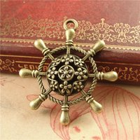 antique boat accessories - Antique Bronze Ship wheel Charms Boat Accessories Zinc Alloy DIY Jewelry Charms A3927