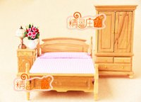 baby bedroom furniture sets - G05 X4306 children baby gift Toy Dollhouse mini Furniture Miniature rement wooden bedroom set