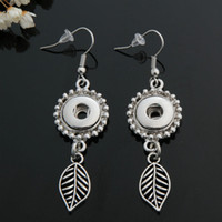 Wholesale Hot sale PJ0145 Charm Lovely Leaves ginger snap earring fit DIY mm ginger snap buttons beauty charm