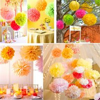 balls paper products - 10pcs Paper PomPom Tissue Ball Decorative Supplies Flower For Wedding Home Party Room Banquet Decoration Pompon Craft Products