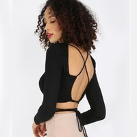 Wholesale The new summer sexy behind a black cross tight Halter slim long sleeved T shirt shirt coat girl