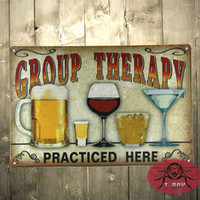 alcohol therapy - Group Therapy Practiced Here TIN SIGN Alcohol beer wine home bar wall decor A