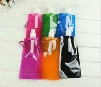 Acheter Sécurité facile-Pliez le sac d'eau facile Carry eau en verre extérieur en plastique Plymer glace sans odeur 480 ML Sécurité Hydratation Équipement pour l'extérieur 500 PCS