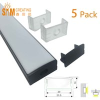 aluminum extrusion shapes - 5pcs Meter Black Recessed LED Aluminum Extrusion Profile without Flange Using for Strip within mm U Shape