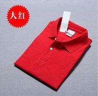 Wholesale Hot men s summer polos casual cotton shirts mens spring embroidery Crocodile tees tops short sleeve lape S XL