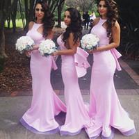 Sin respaldo de las colmenas de la sirena de la dama de honor del banquete de boda de moda rosa satinado dama de honor vestidos halter Vestidos Largos por encargo