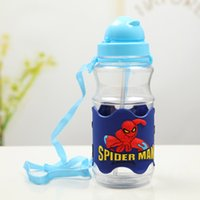 Wholesale Fashion Children Water Bottle Cartoon D Blue PVC Embossed Man Plastic Drinkware With Straw Baby Drinking Bottle