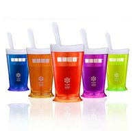 Wholesale Smoothie cup homemade ice cream milkshake cup ice cream machine mini fruit salad cups DIY Manual Mixing Cup