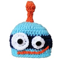 baby robot costume - Crochet Blue Novel Robot Hat Handmade Knit Crochet Baby Boy Girl Cartoon Beanie Hat Child Winter Hat Halloween Costume Toddler Photo Prop