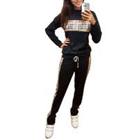 Cheap 2Pcs Women Tracksuit Plaid Sweatshirt+Pant Trouser Casual Sport Suit Sweat D988