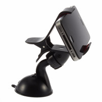 Wholesale Universal degree spin Car Windshield Mount cell mobile phone Holder Bracket Single Clip stands for iPhone5 S for samsung Smartphone GPS