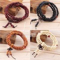 Cheap Vintage Natural Wood 6MM Beads Stretch Wooden Bracelet&Bangle Men handmade 108 Buddha Bracelets & Bangle Drop Shipping Wholesale