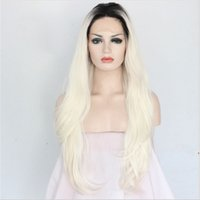 Wholesale 18 quot Heat resistant Lace front wig Synthetic hair Natural Straight Ombre B