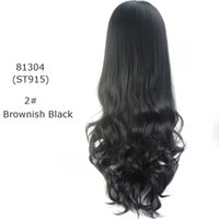 Wholesale Curly Hair Half Wigs Cheap - new fashion women's half wig long synthetic hair wigs cheap balck curly ombre wave 3 4 wig blonde ms female 13 colors available