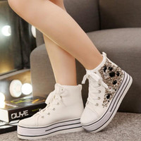 beaded mesh fabric - Woman Korean version of high top canvas shoes within the black and white beaded lace casual shoes increased heavy bottomed platform shoes ti
