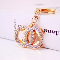 Wholesale Creative Brand Keychains Fashion Key Chains Rhinestone Keyrings Car Key Rings Holder Women Bag Charm Pendant Girls Jewelry Trinket