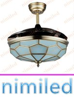 Wholesale nimi897 quot Invisible Mediterranean Ceiling Fan Lights Restaurant Chandelier Living Room LED Changeable Light Pendant Lamp Remote Control