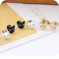 alphabet designer - 2015 New Fashion Girls Vintage Designer Gold Silver Black Realistic Lovely Cat Head Ear Stud Earring For Women Brinco De Meninas