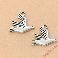 Wholesale Tibetan Silver Crafts Art Peace Bird Charms Pendants Jewelry Making19x17mm jewelry making