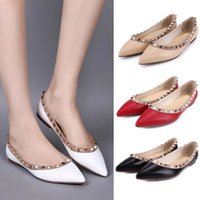Wholesale Designer Rivets Pointed Toe Genuine Leather Ballet Flats Lady Slip On Office Lady Woman Dress Shoes Sz