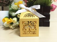 Wholesale 2016 Love Couple Bird Laser Cut Candy Boxes Casamento Wedding Favors And Gifts Box