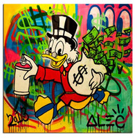 Wholesale Takes On Extreme Capitalism ALEC MONOPOLY High Quality Genuine Handpainted Cartoon Graffiti Art oil Painting On Canvas customized size