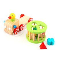 baby wood ducks - NEW Traditional Childrens Wooden Pull Duck Car Carriage Baby Activity Toy Hot Selling