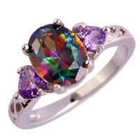 Wholesale Fashion Jewelry multicolor Rainbow topaz K White Gold Plated Silver Ring Size women