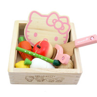 baby food pots - Baby Toys Pink KT Cat Vegetable Fruit Play Food Wooden Toys Baby Wooden Pot Wooden Food Toys Kitchen Education Birthday Gift