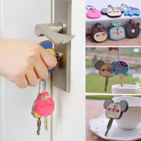 key caps - key cover Bear Mickey Hello Kitty Minion cartoon Keychain Jewelry Cap Head Cover Key chain Anime Silicone holder