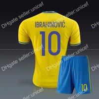 Wholesale 2016 Zlatan Ibrahimovic soccer jersey home jersey sweden soccer jersey soccer uniform camisetas de futbol equipcion maillots de foot footbal