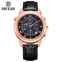 alloy front buckle - Megir Chronograph Men Watches Quartz Watch Multi Function Timing Waterproof Wrist Watch Relogio Masculino Front Back Watches