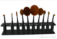 Wholesale DHL Makeup Toothbrush Set Holder Oval Makeup Brush Holder Hole Drying Rack Organizer Cosmetic Shelf Tool
